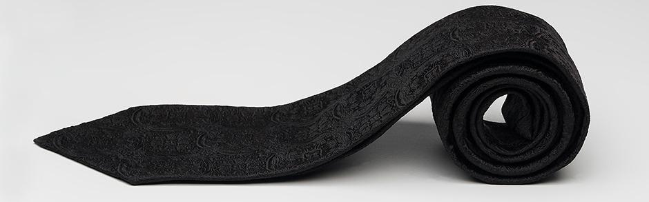 Elafria black silk medallion jacquard weaved 7fold multifold necktie rolled luxurious silk impressive