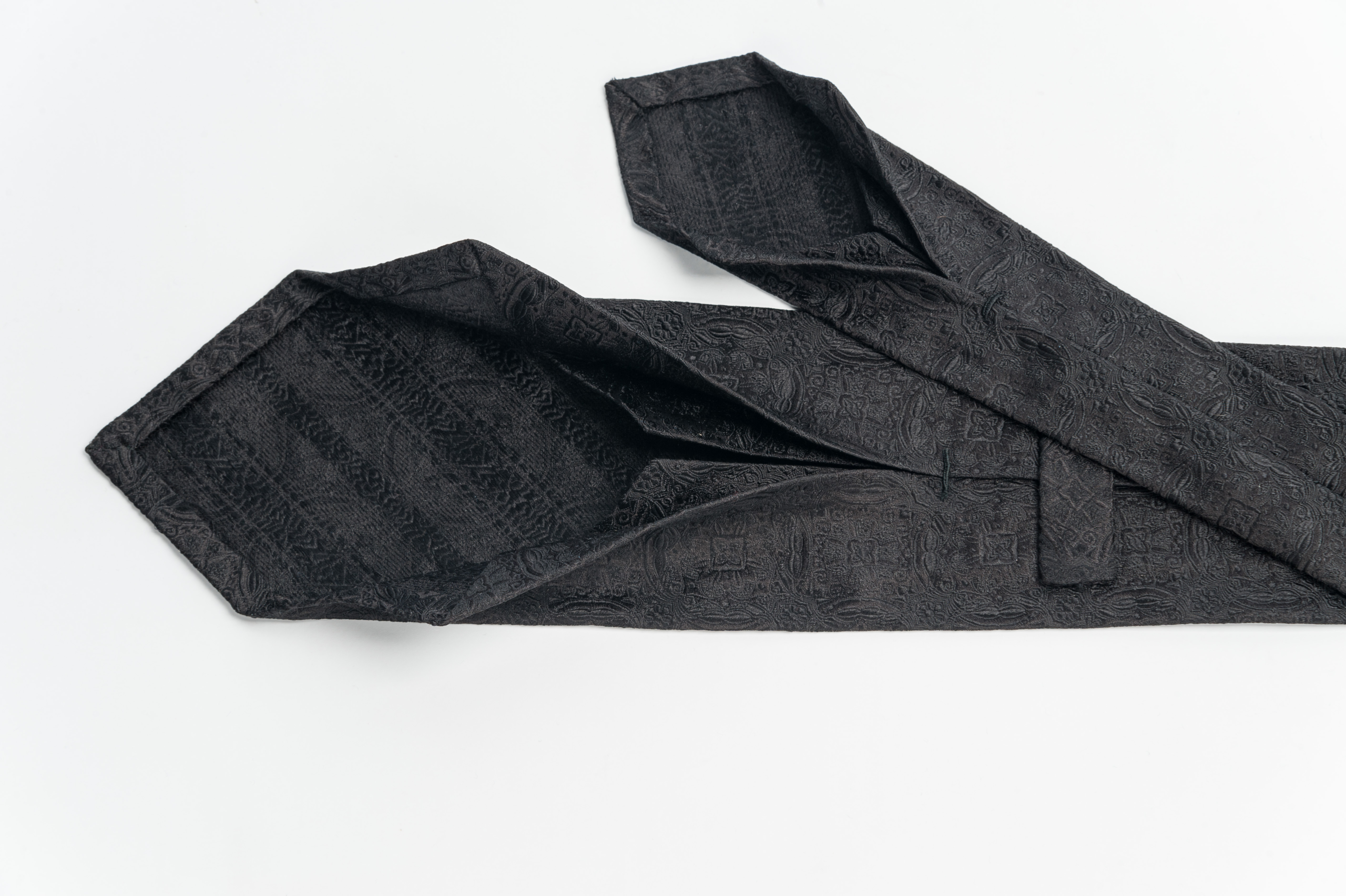 handmade black silk tie