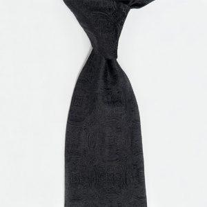 Black medallion luxury hand made silk neckties μαύρη ραμμένη στο χέρι μεταξωτή γραβάτα
