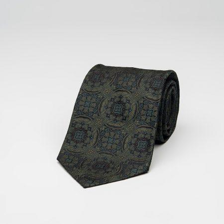 green medallion luxury handmade silk tie shop online πράσινη μεταξωτή γραβάτα αγορά μέσω ιντερνέτ