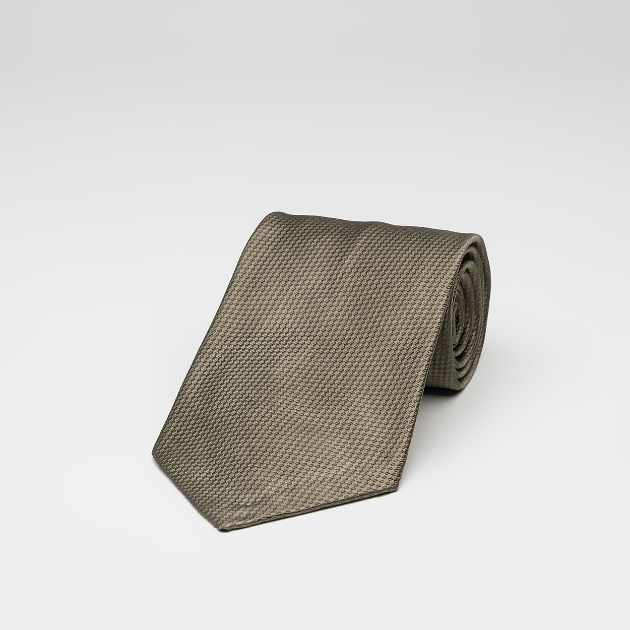 Μονόχρωμη Χακί Μεταξωτή Γραβάτα