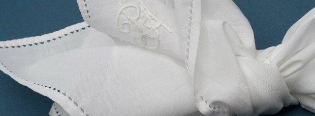 handmade ebroided white linen and cotton hankies handkerchief pocket square fold handkerchief personalised handkerchief personalized pocket square monogram