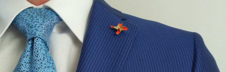 7-fold necktie blue silk turqoise lapel pin