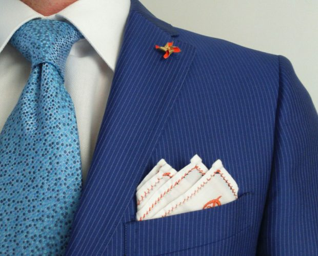 cocktail suite necktie white cotton pocket square lapel pin