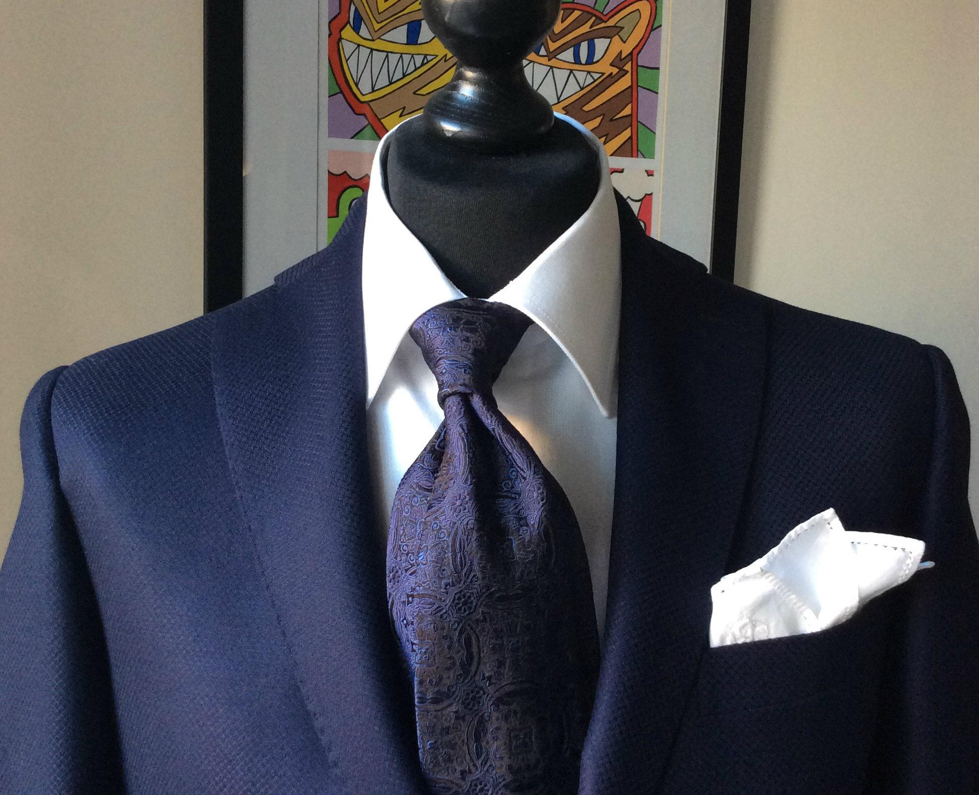 blue +silk +necktie white pocket +square