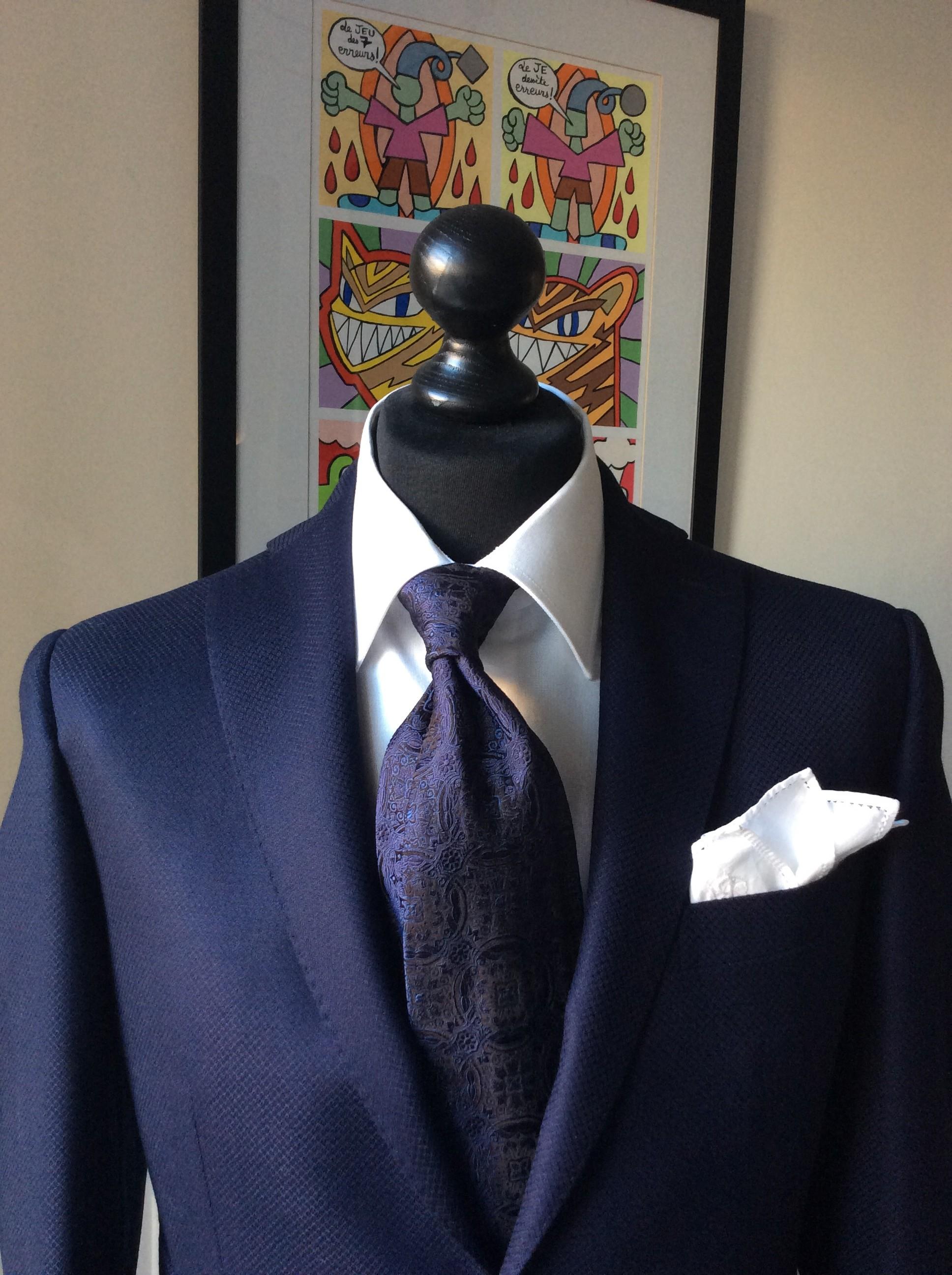 blue silk necktie white pochette