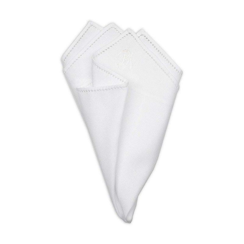 Personalized White Pique Cotton Pocket Square