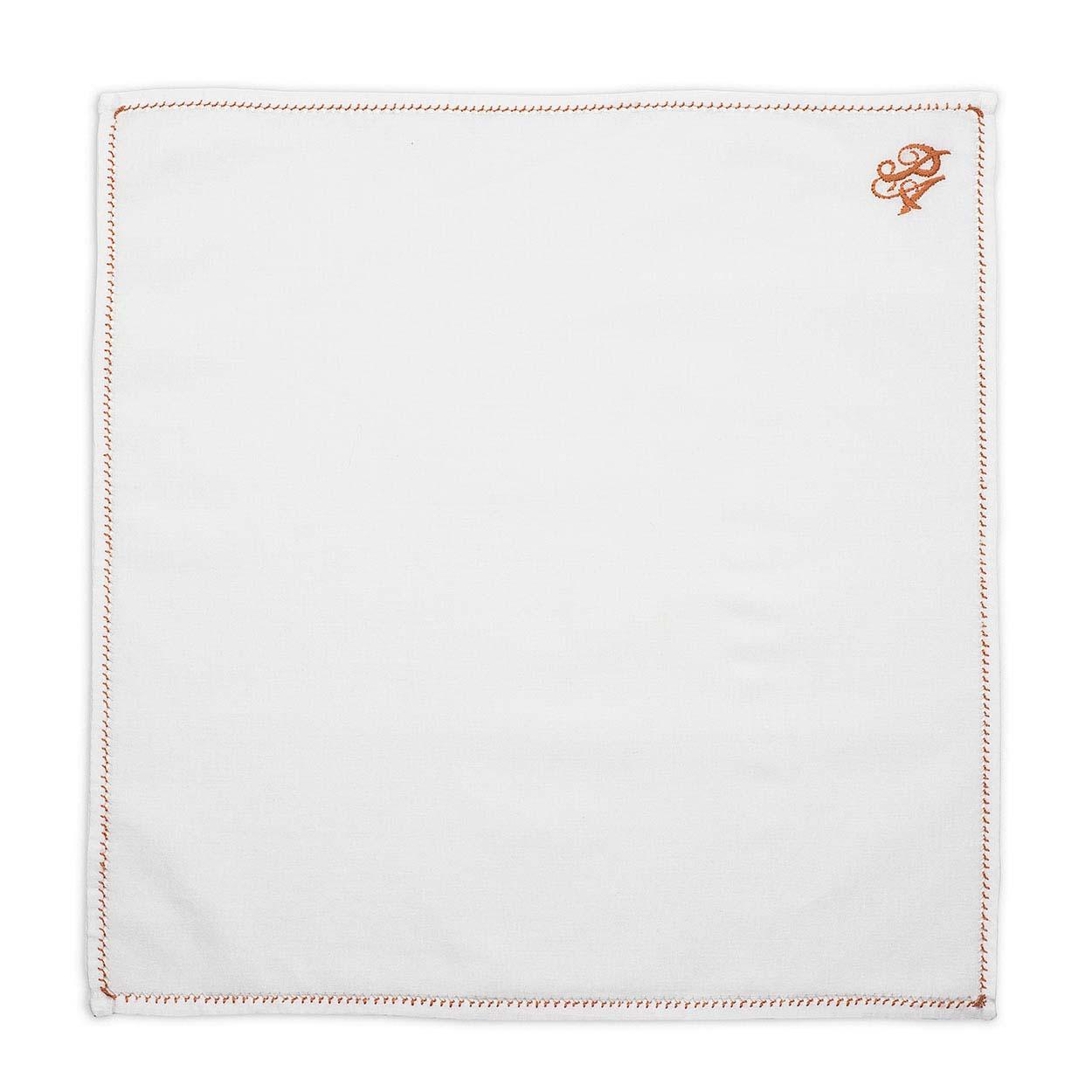 Λευκό Μαντήλι Κουστουμιού με Χάλκινο Μονόγραμμα