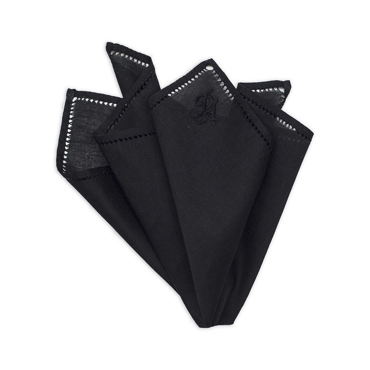 670474059e69d Personalised Black Cotton Pocket Square • ΚΥΔΟΣ