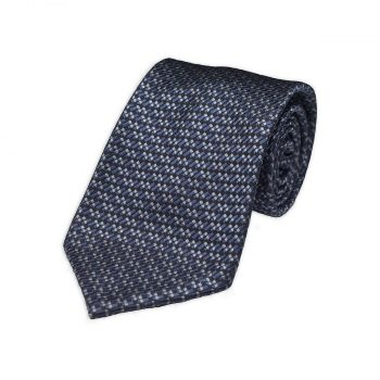 Blue Grey Jacquard Silk Tie