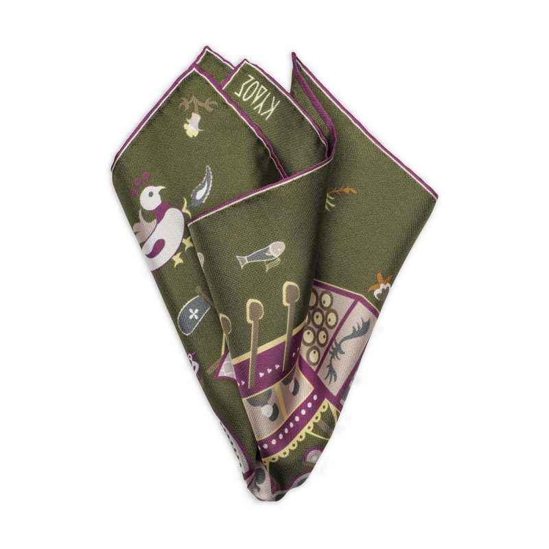 Skyriana Green Silk Pocket Square