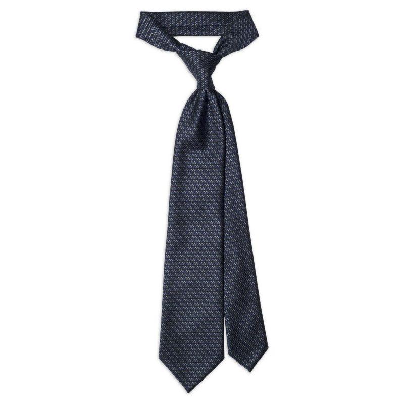 Μπλε Γκρι Υφαντή Μεταξωτή Γραβάτα