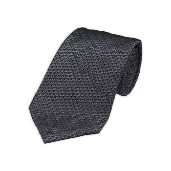 Brown Blue Jacquard Silk Tie