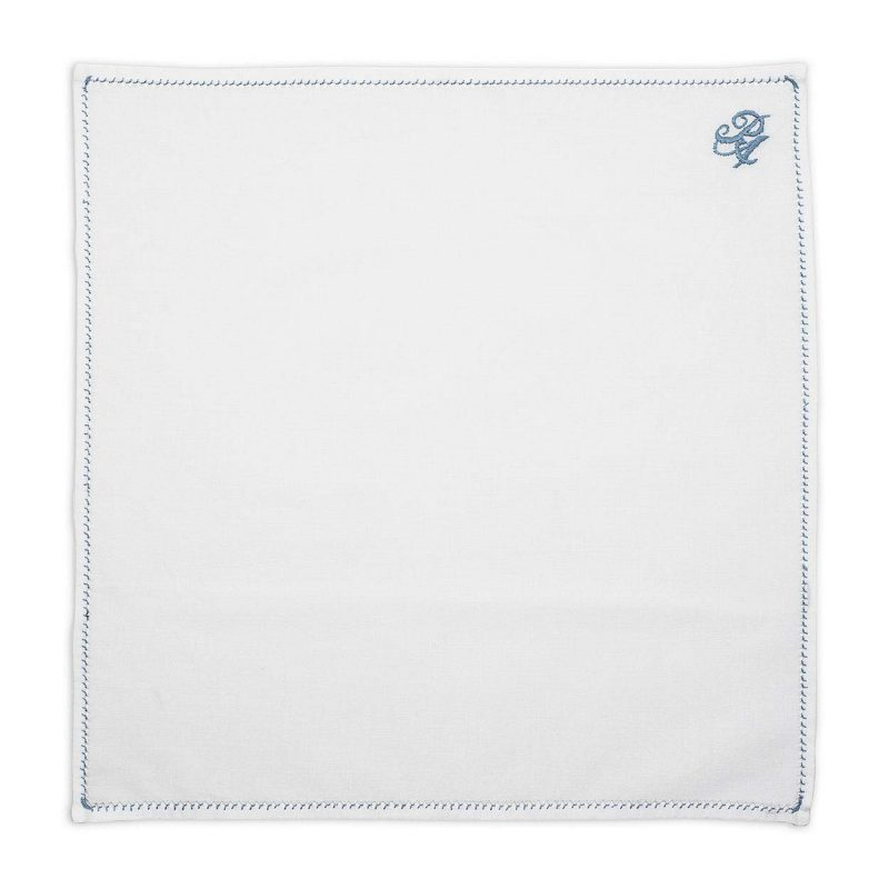 Personalized Blue Thread Cotton Pocket Square