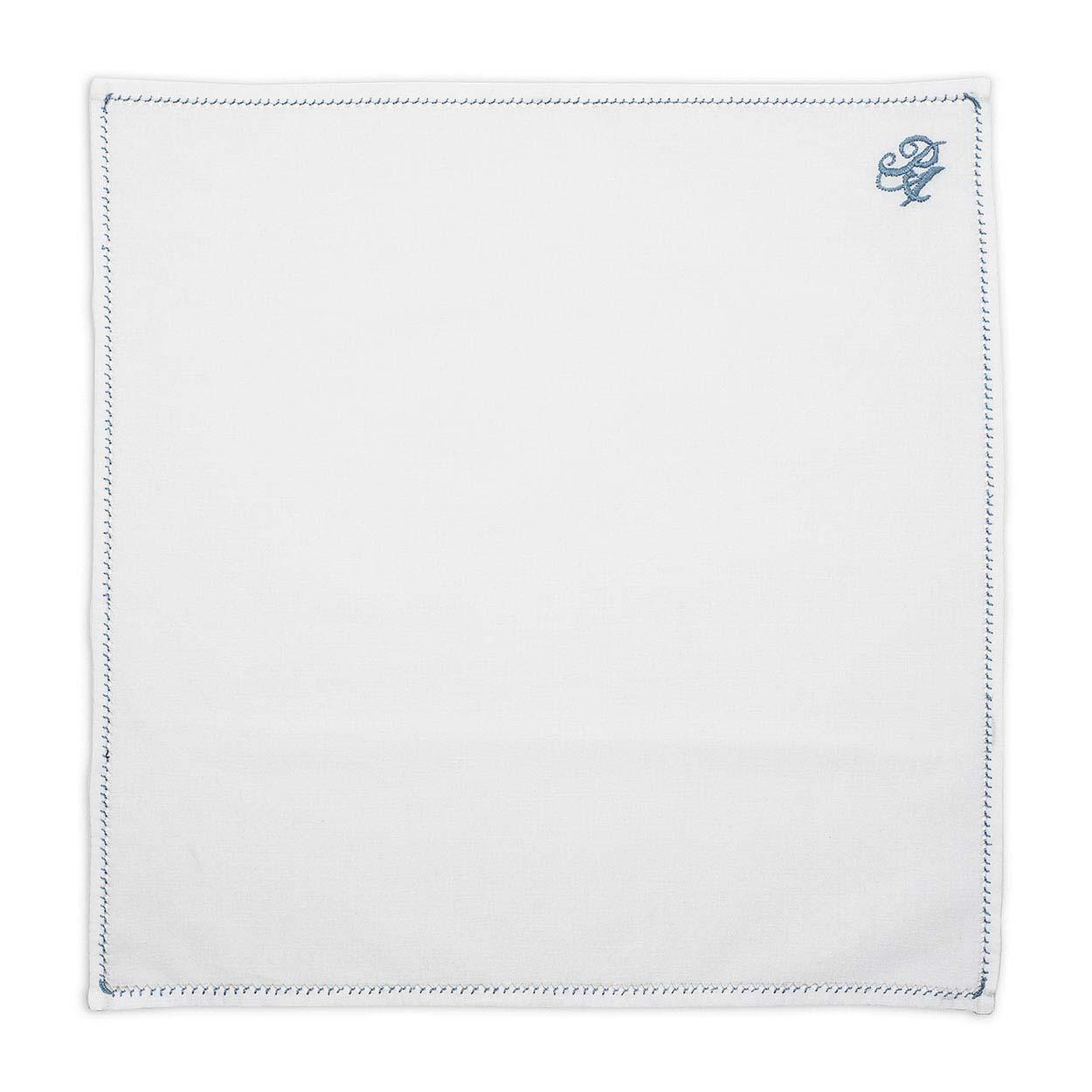 Λευκό Μαντήλι Κουστουμιού με Μπλε Μονόγραμμα