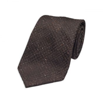 Brown Tweed Silk Tie