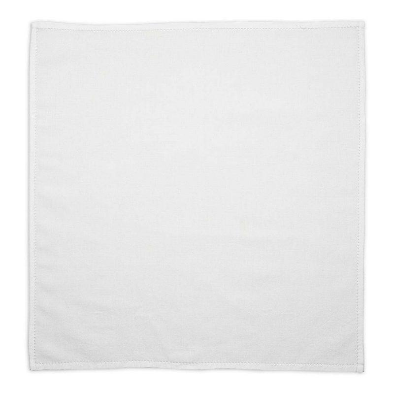 Embroidered White Cotton Pocket Square
