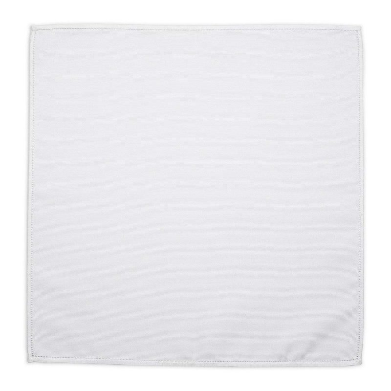 Embroidered White Cotton Pocket Square