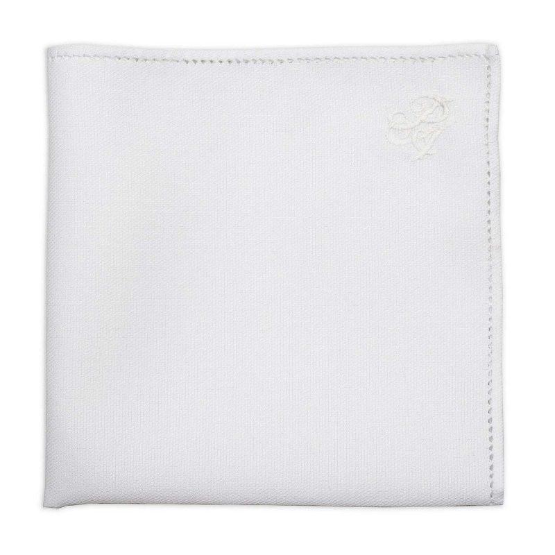 Λευκό Πικέ Μαντήλι Κουστουμιού με Μονόγραμμα