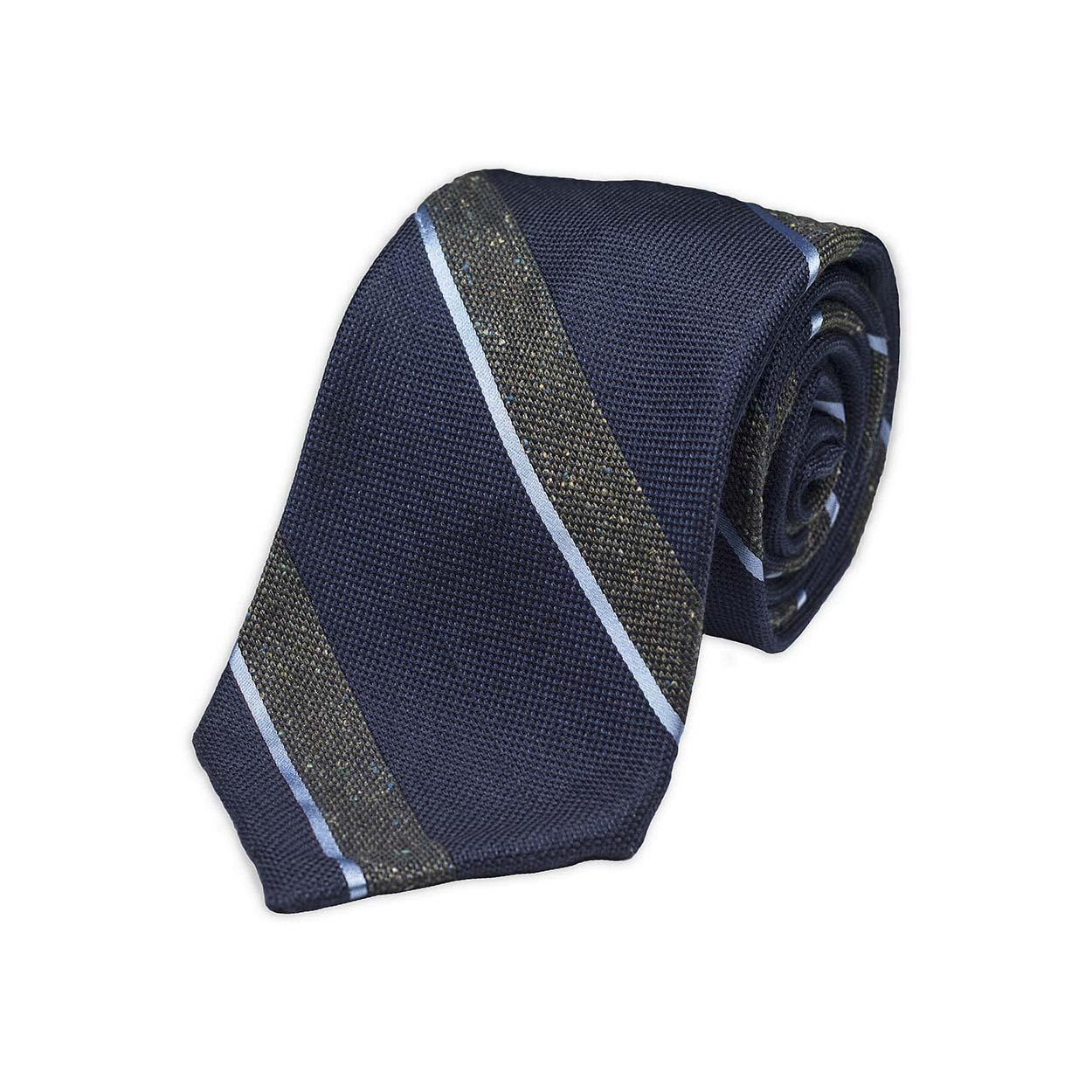 Μπλε Πράσινη Ριγέ Υφαντή Μεταξωτή Γραβάτα