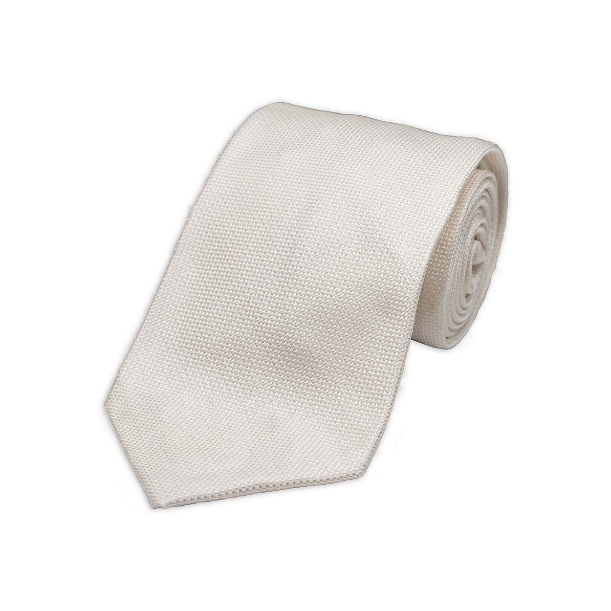 Λευκή  Υφαντή Μεταξωτή Γραβάτα