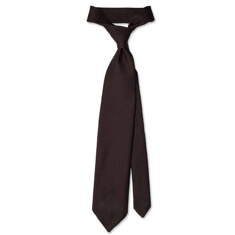 Brown Grenadine Silk Tie