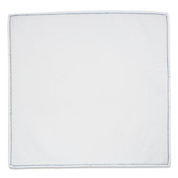 Λευκό Μαντήλι Κουστουμιού με Μπλε Αζούρ