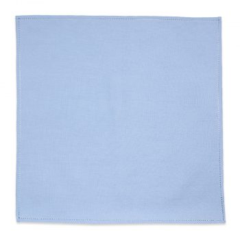 Embroidered Blue Linen Pocket Square