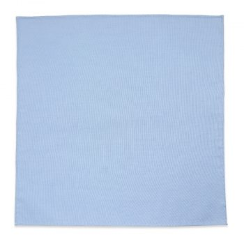 Handrolled Blue Linen Pocket Square