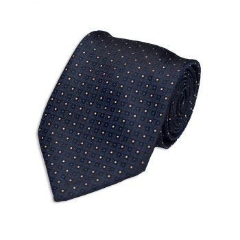 Micro Design Blue Silk Tie
