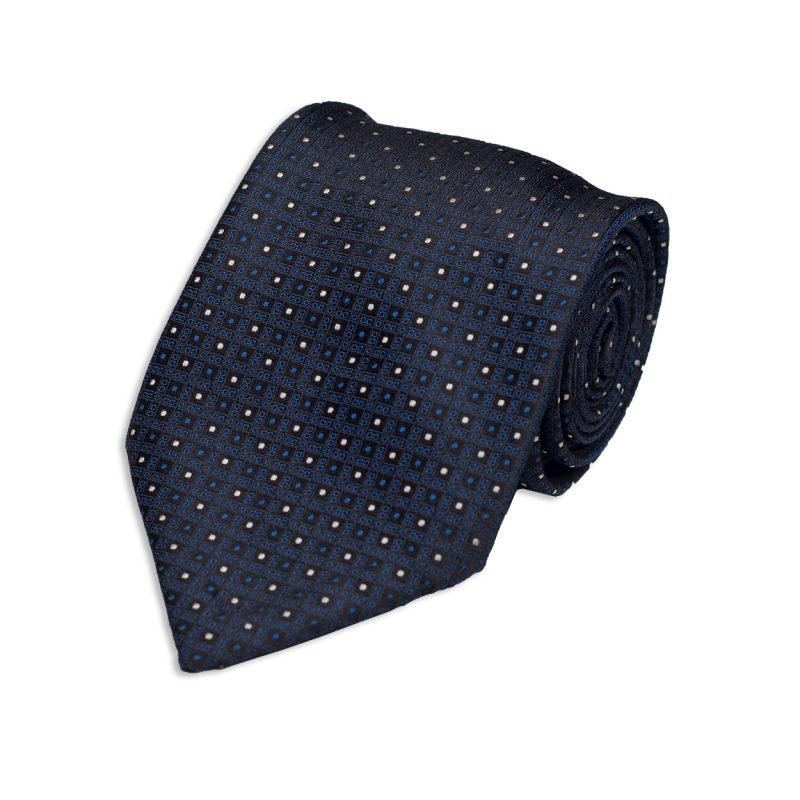 Micro Design Blue Silk Tie