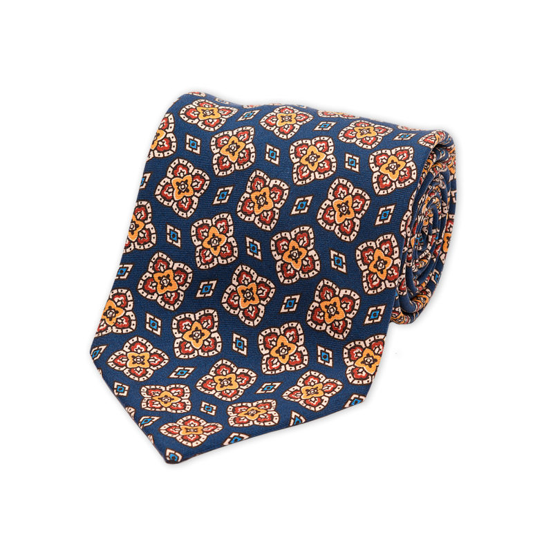 Blue Floral Diamond Madder Silk Tie