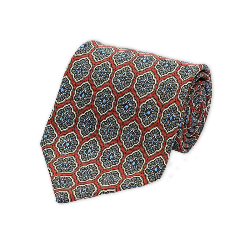 Moroccan Flower Wine Madder Silk Tie