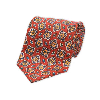 Rust Floral Diamond Madder Silk Tie