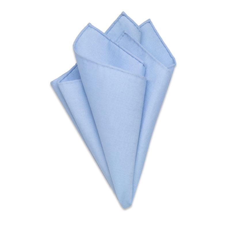 Handrolled Blue Linen Pocket Square
