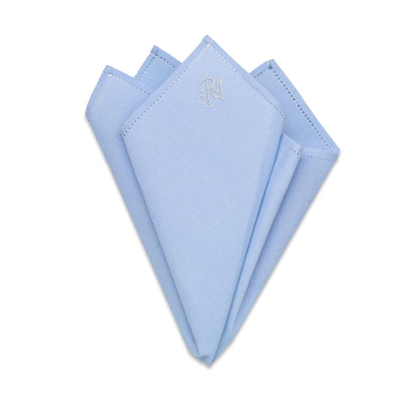 Embroidered Blue Linen Pocket Square