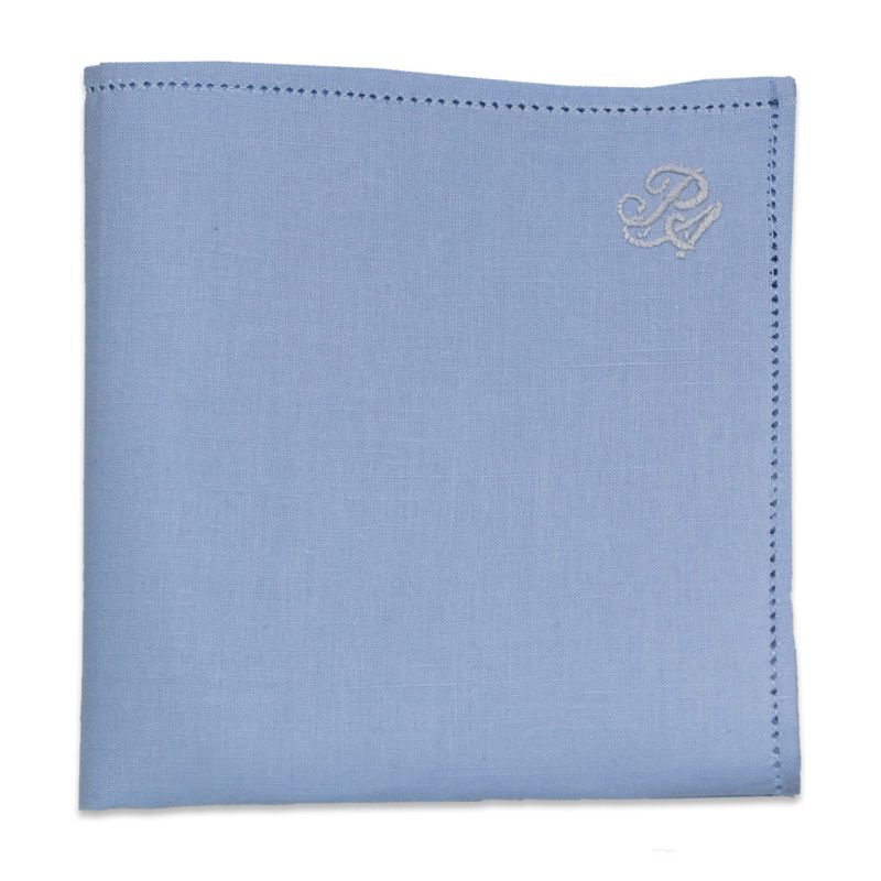 Personalized Blue Linen Pocket Square