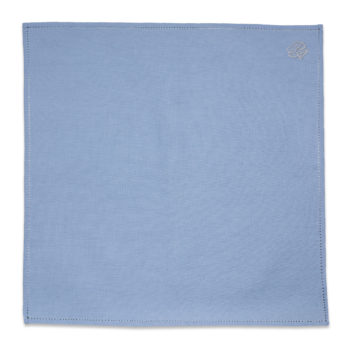 Personalized Blue Linen Pocket Square