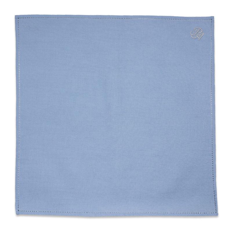 Μπλε Λινό Μαντήλι Ποσέτ με Μονόγραμμα