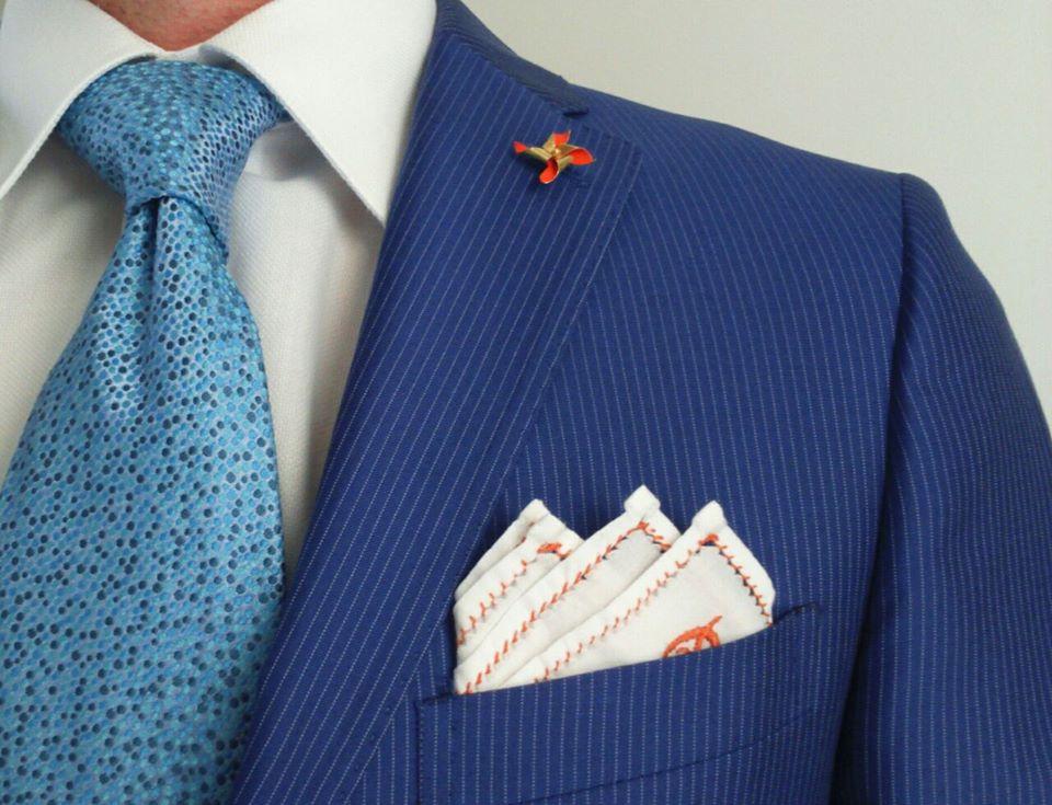 μπλε γραβάτα Μαντηλάκι πέτου Pochette Pocketsquare