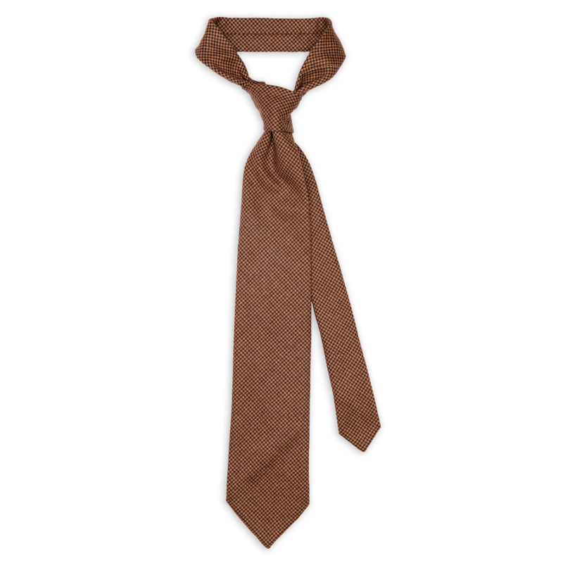 Houndstooth Brown Wool Cashmere Tie