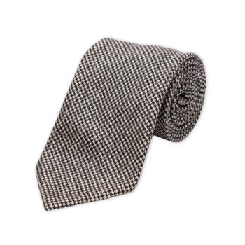 Houndstooth Black White Wool Cashmere Tie