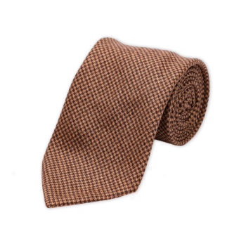 Houndstooth Brown Wool Cashmere Tie