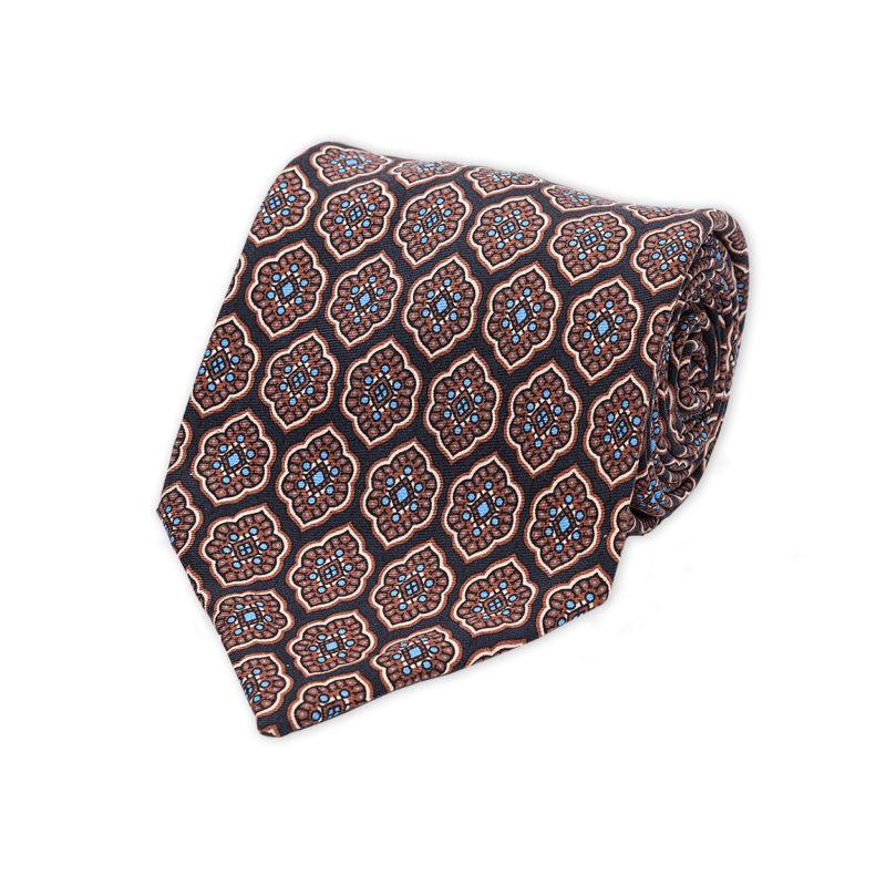 Moroccan Flower Blue Madder Silk Tie