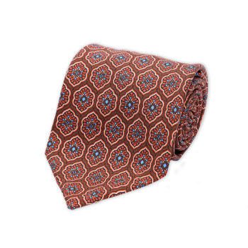 Moroccan Flower Brown Madder Silk Tie