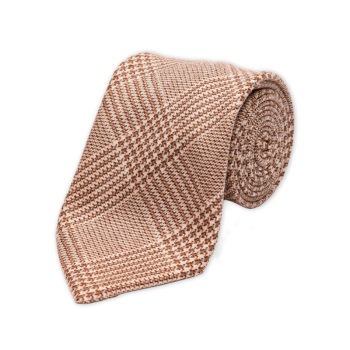 Prince of Wales Brown Wool Cashmere Tie