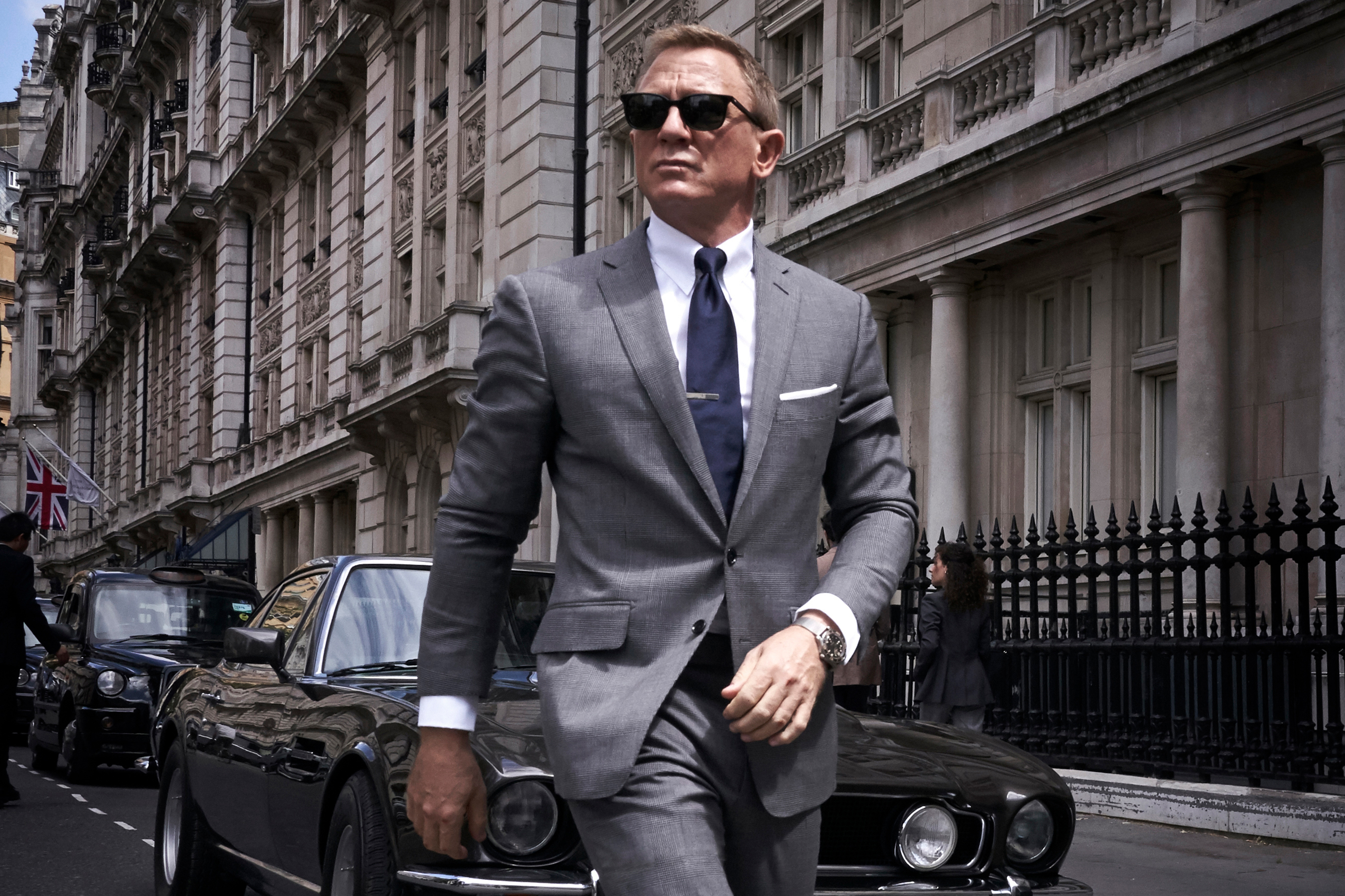 james bond solid blue tie